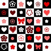 Checkered black and white seamless background with hearts and flowers, vector