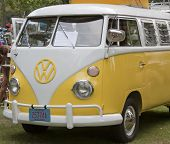 Yellow & White 1966 Vw Camper Front Side View