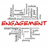 Engagement Word Cloud Concept In Red Caps