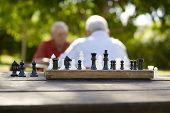 image of chessboard  - Active retirement old friends and leisure two senior men having fun and playing chess game at park - JPG