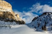 Slope On The Skiing Resort Of Colfosco, Alta Badia, Dolomites Alps, Italy