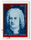 BULGARIA - CIRCA 1985: Postage stamps printed in Bulgaria dedicated to Johann Sebastian Bach (1685-1750), German composer, organist, harpsichordist, violist, and violinist, circa 1985.