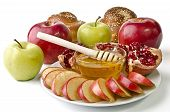 Still Life - Challah, Apples, Pomegranate And Bowl Of Honey