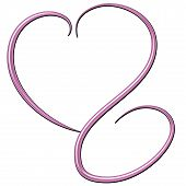 Deco Pink Swirl Beveled Heart Art