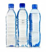 Plastic Bottles Of Mineral Water Isolated On White