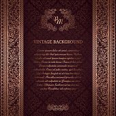 Vintage background on black damask pattern