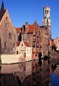 Canalside buildings, Bruges, Belgium.