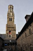 Belfry And Market Place In Bruges, Belgium
