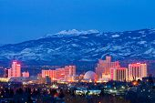 RENO - FEBRUARY 2: Reno skyline on February 3, 2013. It's known as The Biggest Little City in the Wo