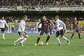 VALENCIA - FEBRUARY 3: Andres Iniesta with ball during Spanish League match between Valencia CF and