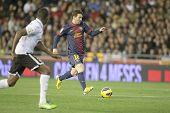 VALENCIA - FEBRUARY 3: Leo Messi during Spanish League match between Valencia CF and FC Barcelona, o