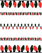 picture of christmas lights  - A vector illustration of several strands of red and green christmas lights of different sizes - JPG