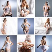 image of pantyhose  - Collage with a different bridal lingerie - JPG