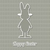 Happy Easter Bunny Gray Background