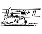 Crop Dusting Biplane - Retro Clipart Illustration