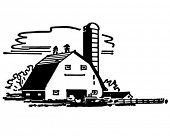 stock photo of silos  - Barn And Silo  - JPG