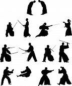 Many Silhouettes Of Samurai Combat