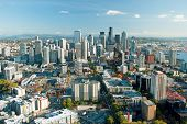 stock photo of view from space needle  - Seattle downtown skyline with view of Mt - JPG
