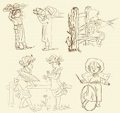 Vector set of retro, vintage children illustration