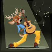Musician Deer. Funny cartoon and vector illustration