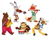 Musician animals. Cartoon and vector isolated characters.