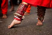 Close up of a devotee's leg at Thaipusam event celebrating Lord Murugan, Batu Caves, Kuala Lumpur, M