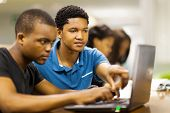 foto of afro  - african college students using laptop together - JPG