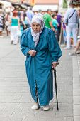 SARAJEVO, BOSNIA - AUGUST 13: Muslim lady in old town on August 13, 2012 in Sarajevo, Bosnia. The ci