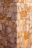 Masonry stone wall corner detail construction work texture