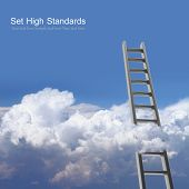 image of stairway  - Blue sky with clouds and ladder - JPG