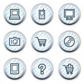Electronics web icons set 1, stripped light blue circle buttons