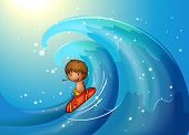 Illustration of a little man surfing