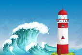 Illustration of a lighthouse in the middle of the sea with high waves