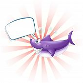 Illustration of a shark with an empty callout on a white background