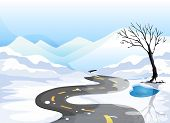 image of long winding road  - Illustration of a long road at the snowy place going to the mountains - JPG