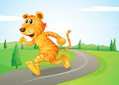 Illustration of a tiger running in the street