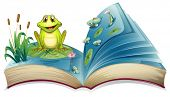 stock photo of short-story  - Illustration of a book with a story of the frog in the pond on a white background - JPG