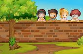 image of avocado tree  - Illustration of the children looking down the wall - JPG