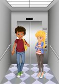 Illustation of the two teenagers at the elevator