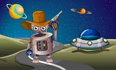 stock photo of outerspace  - Illustration of a robot at the road with a spaceship in the outerspace - JPG