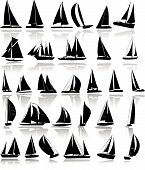 stock photo of sail-boats  - Vector illustartion of yachts silhouettes isolated on white - JPG