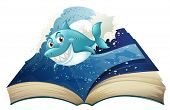 Illustration of a book with a smiling blue shark and waves on a white background