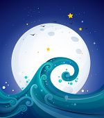 Illustration of the big waves below the bright fullmoon