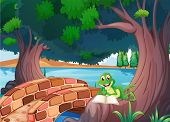 Illustration of a frog reading under the tree beside a bridge
