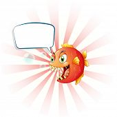 picture of piranha  - Illustration of an angry piranha with an empty callout on a white background  - JPG