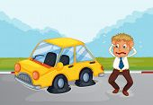Illustration of a sweaty man beside his car with flat tires