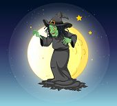 Illustration of a witch at the fullmoon