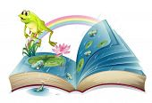 Illustration of a storybook with a frog and fishes at the pond on a white background