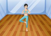 Illustration of a young lady doing a healthy exercise