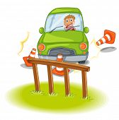 Illustration of a reckless driver bumping the traffic cones on a white background